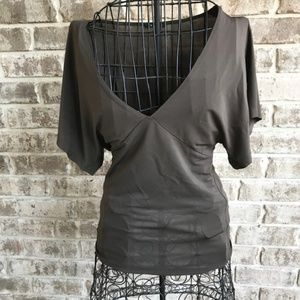 Theory Brown top Blouse V Neck Small Retro Sexy